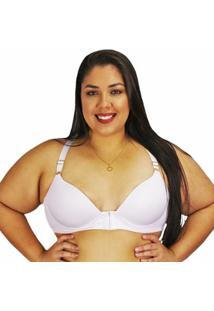 Sutiã Plus Size Nayane Rodrigues Nadador Rendado Fecho Frontal - Feminino-Branco
