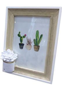 Porta Retrato Urban Home Mart Branco E Bege Para 1 Foto Cactus Flower