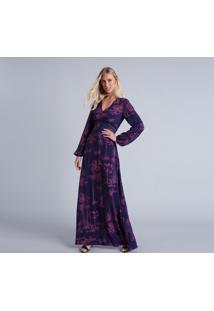 Vestido Longo Manga Longa Estampa Santa Monica - Lez A Lez