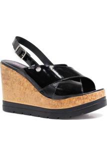 Sandália Zariff Shoes Plataforma Verniz - Feminino-Preto
