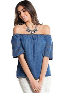 Blusa Jeans Decote Ombro A Ombro Azul