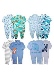 Macacão Promoção Enxoval Roupa Bebê Kit 8 Pçs Menino Menina Azul