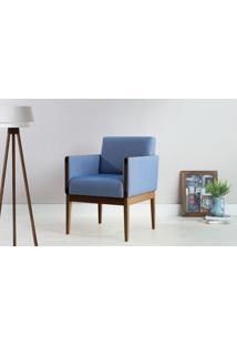 Poltrona Colorida De Madeira Estofada Estilo Retrô Moderno Azul Claro - Verniz Capuccino \ Tec.930 - Mariscal - 62X64X83 Cm