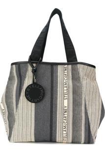 Stella Mccartney Bolsa Tote Listrada Com Logo - Cinza