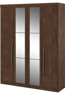 Guarda-Roupa Castellaro - 4 Portas - Imbuia Soft - Com Espelho