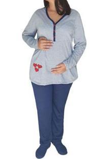 Conjunto De Pijama Linda Gestante Inverno Maternidade Viés E Botões Feminino - Unissex-Cinza