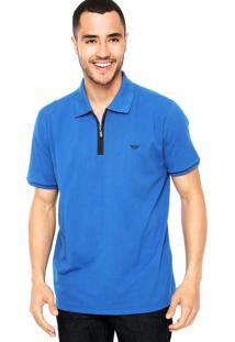 Camisa Polo M. Officer Zíper Azul