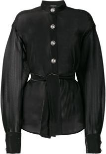 Balmain Blusa Translúcida Com Amarração - Preto