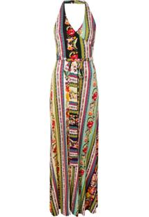 Etro Patchwork Belted Maxi Dress - Roxo