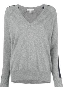 Autumn Cashmere Suéter Com Recorte De Listras - Cinza