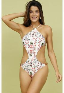 Maiã´ Engana Mamã£E Com Fivela- Off White & Coral- Mosmos Beach Wear