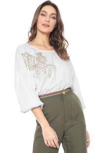 Blusa Sacada Bordada Branca - Branco - Feminino - Algodã£O - Dafiti