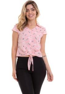 Blusa Cropped Crepe Estampada Feminina - Feminino-Rosa
