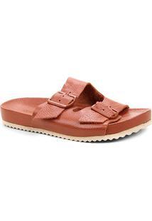 Rasteira Couro Shoestock Tiras Duplas Fivela - Feminino-Marrom