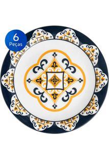 Conjunto De Pratos Rasos 6 Peças Floreal São Luis - Oxford Azul/Amarelo