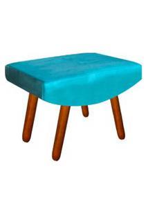 Puff Decorativo Josy Pés Palito Suede Azul Turquesa - D'Rossi.
