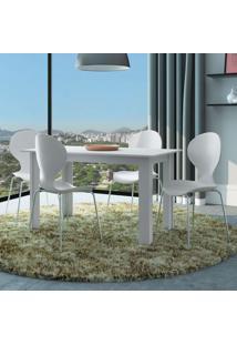 Conjunto De Mesa Com 4 Cadeiras Formiga Branco