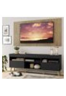 """Rack Com Painel E Suporte Tv 65"""" Londres Multimóveis Pés Retrô E 2 Portas Preto/Rustic/Natural"""