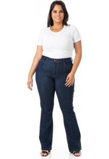 Calça Jeans Flare Com Lycra Plus Size Confidencial Extra Feminina - Feminino-Azul