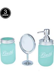 Kit 3Pçs Banheiro Vidro/Metal Com Espelho Clean Color Verde 28,5 X 9 X 21,5Cm