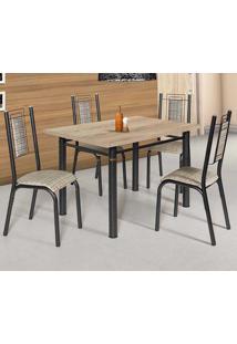 Conjunto De Mesa Com 4 Cadeiras - Bela - Ciplafe - Junco Manteiga