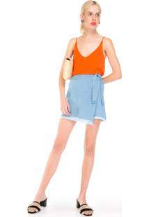 Saia Jeans Transpassada Amarração