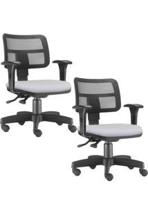 Kit 02 Cadeiras Giratã³Rias Lyam Decor Zip Corino Branco - Branco - Dafiti