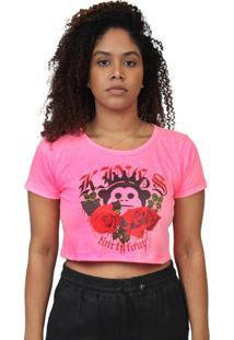 Camiseta Kings Sneakers Cropped Floral Rosa Neon - Rosa - Feminino - Dafiti