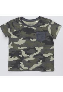 Camiseta Infantil Estampada Camuflada Com Bolso Manga Curta Gola Careca Verde Militar