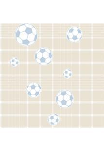 Papel De Parede Coleção Bim Bum Bam Bege Azul Branco Futebol 2246 Cristiana Masy