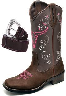 Bota Texana Click Calçados Bico Quadrado Cara De Boi Em Couro Com Cinto Marrom/Rosa