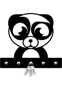 Porta Chaves Panda Love Decor Preto - Preto - Dafiti