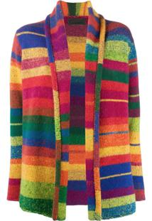 The Elder Statesman Cashmere Colour-Block Cardigan - Rosa