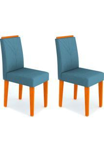 Conjunto Com 2 Cadeiras Amanda Ipê E Azul