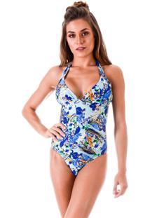 Maiã´ Areia Branca Praya Blue Leaf Estampado Azul - Azul - Feminino - Dafiti