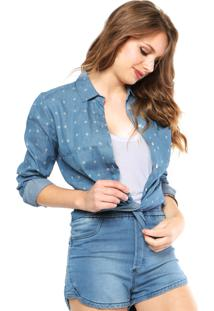 Camisa Jeans Forum Étnica Azul