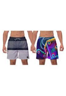 Kit 2 Shorts Moda Praia Roxo Fusion Estampado Caminhada Piscina Academia Esporte Banho Ajustável W2