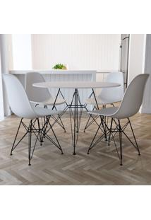 Conjunto De Mesa De Jantar Com 4 Cadeiras Eiffel Iron Branco