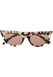 Valentino Eyewear Óculos De Sol Gatinho - Marrom