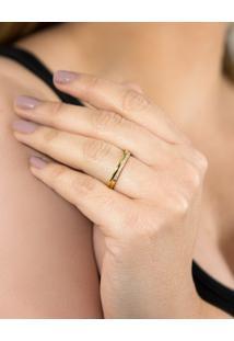 Aliança De Ouro 18K Reta Com Filete De Diamantes Rodinados (2,80Mm)