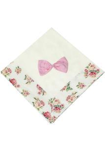 Manta Enxoval Piquet Padroeira Baby Floral Luxo Bege