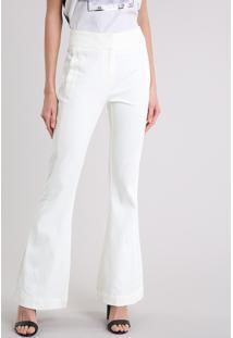 Calça Feminina Flare Em Piquet Off White