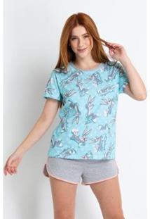 Pijama Curto Acuo - Pernalonga Feminino - Feminino-Azul