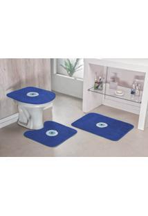 Jogo De Banheiro Guga Tapetes Olho Grego 03 Pçs Azul Royal