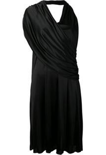 Lanvin Vestido Assimétrico Drapeado - Preto
