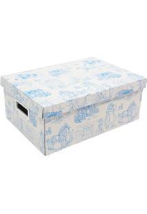 Caixa Organizadora Baby- Azul Claro & Branca- 14X26,Boxmania