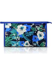 Necessaire Envelope Jacki Design Nylon - Feminino-Azul+Preto