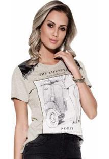 Camiseta Knt Estampada Pedraria T-Shirt - Feminino-Cinza
