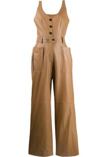 Ruban Leather Pinafore Jumpsuit - Marrom