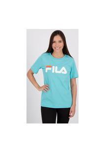 Camiseta Fila Basic Letter Feminina Turquesa